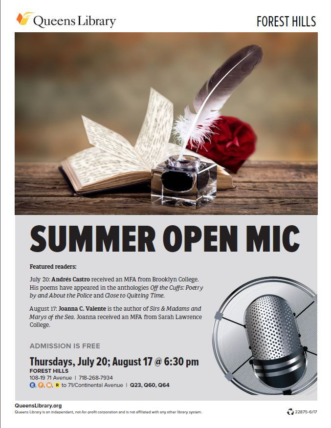 July 20th Forest Hills Library Open Mic